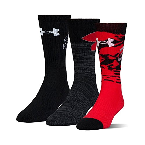Under Armour Youth Phenom Curry Crew Socks, 3-Pairs, Red, Shoe Size: Youth 13.5K-4Y