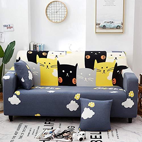 Funda de Sofá Elástica Funda Sofá Gruesa Antideslizante, Cubierta Sofa Muebles con Cuerda de Fijación Antideslizante Protector de Muebles (Nube de Gato, Azul, 3 Plazas )