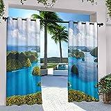 Cortinas impermeables de la isla con vista de las islas de Palau desde arriba tradicional turística verde pintoresco, apto para pabellones de terraza al aire libre, 108 x 108 pulgadas, verde azul