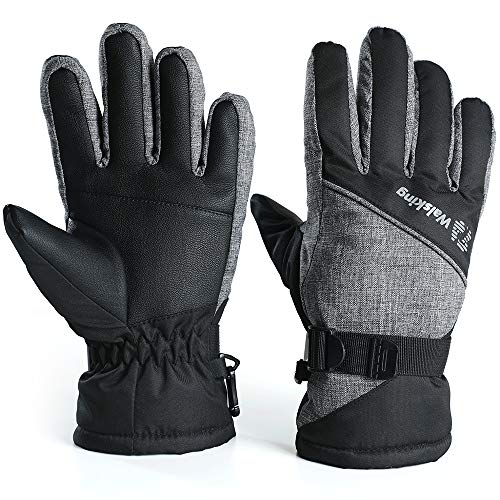 Walsking Kids Winter Snow&Ski Gloves-3M Thinsulate Waterproof Cold Weather Gloves for Skiing,Snowboarding-Fits Toddlers,Boys and Girls, Black, Medium(Fits:9~12years old)