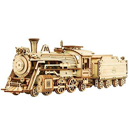 Robotime Dampflokomotive 3D Puzzle Model Kits Selbstmontage Mechanische Konstruktion Handwerk für Kinder, Jugendliche und Erwachsene