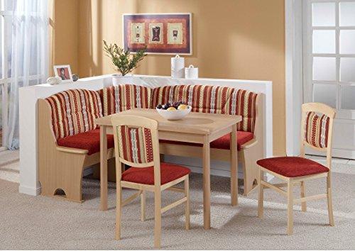 HOWE-Deko Truhen-Eckbankgruppe Buche Natur Dekor; Eckbank, 2 Stühle und Vierfußtisch, Bezug: Kombi rot, variabel aufbaubar