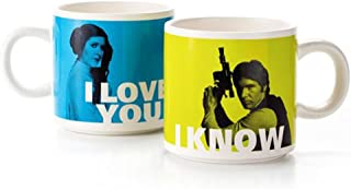 Two Cups with Black Print Portraits of Han Solo and Princess Leia Organa Silhouette Tea Glass Set Inspired by Star Wars Movies I Know getDigital I Love You