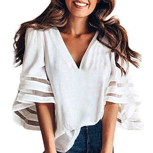 OYSOHE Tops Damen Vogue V-Ausschnitt Glockenärmel Lose Kurzarm Bluse T-Shirts 2019