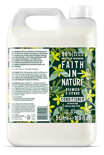 Faith in Nature Natürlicher Seetang & Zitrus Conditioner, Entgiftend, Vegan & Ohne Tierversuche, Frei von Parabenen und SLS, für Alle Haartypen, 5 L Nachfüllpackung