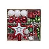 Chucherías de navidad Hermoso 52 árbol de navidad colgante paquete de regalo decoración navideña colgante bola navideña estrella de cinco puntas copo de nieve Bola de Navidad de plástico anti-gota