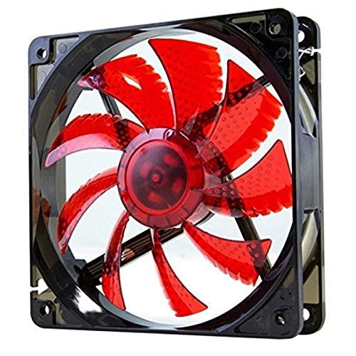 Nox Coolfan -NXCFAN120LR- Ventilador Caja PC 120mm, 9 aspas traslúcidas, rodamientos larga duración, 4 LEDs, silencioso, conector 3 y 4 pines, color rojo - negro