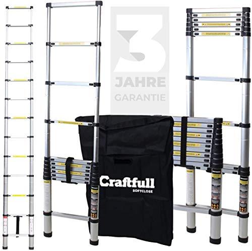 Craftfull Aluminium SOFT CLOSE Teleskopleiter inkl. Tragetasche - 3 Jahre - in 2/2,6/2,9/3,2/3,8/4,1/4,4 Meter - Mehrzweckleiter - Stehleiter - Aluminiumleiter - Leiter - Aluleiter (2.9 Meter)