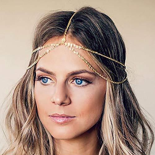 Yean Gold Kopf Kette Böhmisches Haar Schmuck Kopfschmuck Stirnband Festival Haar Stirnband Zubehör für Frauen und Mädchen (Gold)