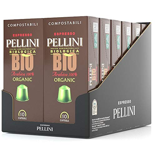 Pellini Caffè Espresso Pellini Bio Arabica 100% Organic, Nespresso-kompatible Kapseln und Selbstgeschützte KOMPOSTIERBARE Kapseln (12 Packung mit 10 Kapseln, gesamt 120 Kapseln)