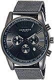 Akribos XXIV - Homme - AK813BK - Mouvement Cristal de Roche - Affichage Analogique - Cadran Noir - Noir - Bracelet Acier Inoxydable