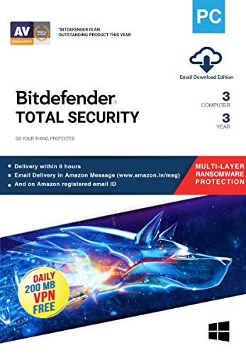 Bitdefender – 3 Computer,3 Years – Total Security   Windows   Latest Version   Email Delivery in 2 Hours- No CD  