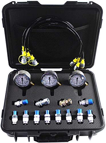 SINOCMP Hydraulic Test Kit 25/40/60mpa Hydraulic Pressure Gauges Kit for Komatsu Excavator with 12 Couplings, 4 163cm Long Test Hoses and 3 Pressure Gauges, Sturdy PP Plastic Box, 2 Year Warranty