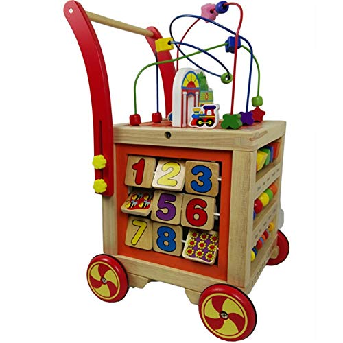 For Sale! Baby Walker Early Education Wooden Puzzle Kids Block And Roll Cart Push And Pull Baby Walk...