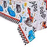 WERNNSAI Mantel de Carreras Rectangular - 132 x 220 cm Cubiertas de Mesa de Plástico Desechables para Niños Cumpleaños Juegos Deportivos Suministros de Fiesta de Carreras de Autos