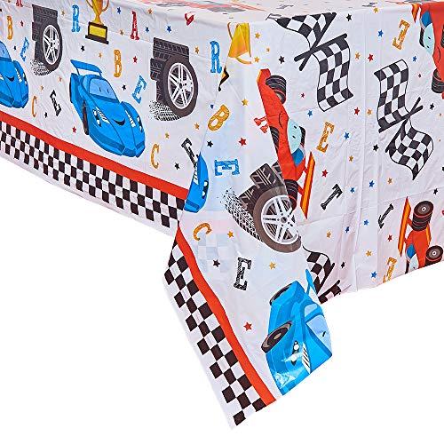 WERNNSAI Mantel de Carreras Rectangular - 2 Piezas 132 x 220 cm Cubiertas de Mesa de Plástico Desechables para Niños Cumpleaños Juegos Deportivos Suministros de Fiesta de Carreras de Autos