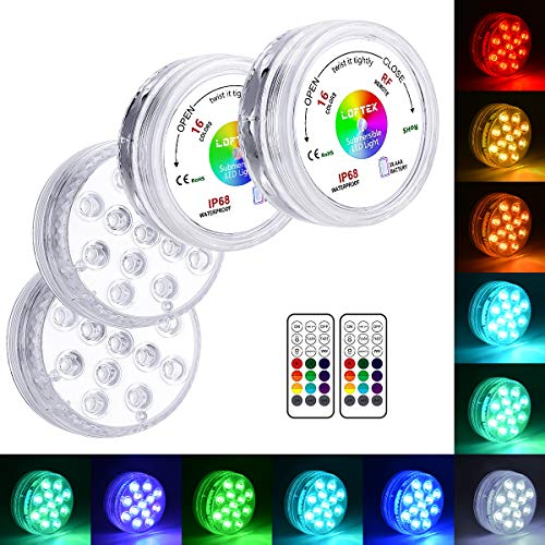 LOFTEK 13 LED Submersible Lights Remote Control 164ft Remote Range, Extra Bright Color Changing Underwater Lights for Ponds Pool Boat, IP68 Full Waterproof,Battery Operate(4 Packs)
