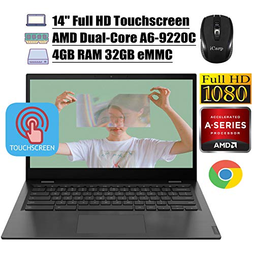 "2020 Latest Lenovo Chromebook S345 14 Laptop Computer 14"" Full HD Touchscreen Display AMD A6-9220C 4GB DDR4 32GB eMMC AMD Radeon R5 Backlit KB 720p Webcam WiFi Chrome OS + iCarp Wireless Mouse"