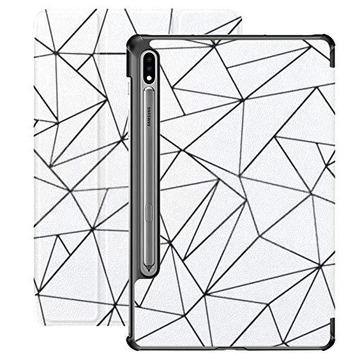 Funda Samsung Galaxy S7 Plus con Soporte para bolígrafo S Resumen Poligonal Fondo Blanco Negro Funda de Cuero Plano de PU para Samsung Galaxy Tab S7 Plus 12.4 Pulgadas 2020, Funda Samsung Galaxy Tab