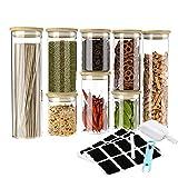 8er Vorratsgläser Set - GEEDIAR Vorratsdosen Glas Set Luftdicht Glasbehälter mit Bambus Deckel - Borosilikatglas mehrweg Glasbehälter BPA-frei, Vorratsdosenset Aufbewahrung Küche, 250/350/650ml