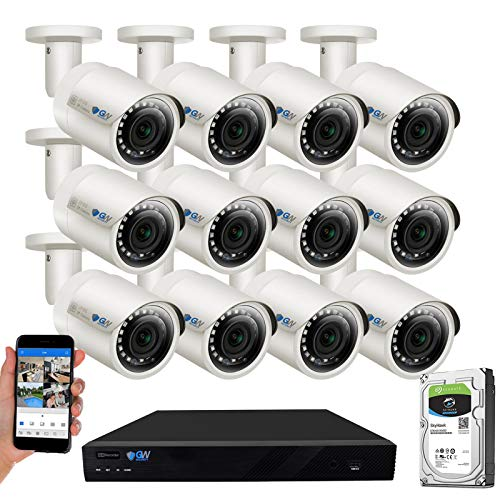 GW Security 16 Channel 4K NVR 5MP POE Audio & Video Security Camera System - 12 x 5MP 1920P Weatherproof Bullet Cameras,Built in Microphone, Quick QR Code Easy Setup, Pre-Installed 4TB Hard Drive