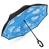 Double Layer Wind Proof,UV Proof, durable, self standing Proof Reverse Folding Inverted Umbrella Travel Umbrella with Hands free C Shape Handle (Sky and cloud)