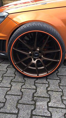 Rimsavers FELGENSCHUTZ & Styling Felgenschutzring Alu Felgen Ringe Felgenrandaufkleber Felgenstyling Rim Protector Guard Ringz Rimblades (Orange)