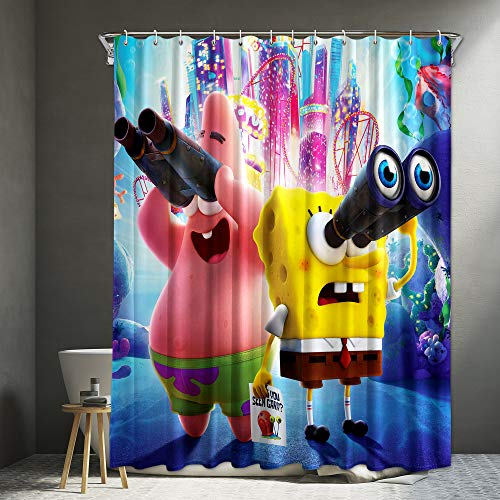 Spon_gebob Fabric Shower Curtain Set with 12 Hooks for Kids Boys and Girls Bathroom