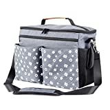 Homlynn Messenger Diaper Bag, Baby Nappy Bag Stroller Organizer, 5 Big Pockets Large Storage Space for Baby Accessories(Classic Grey)