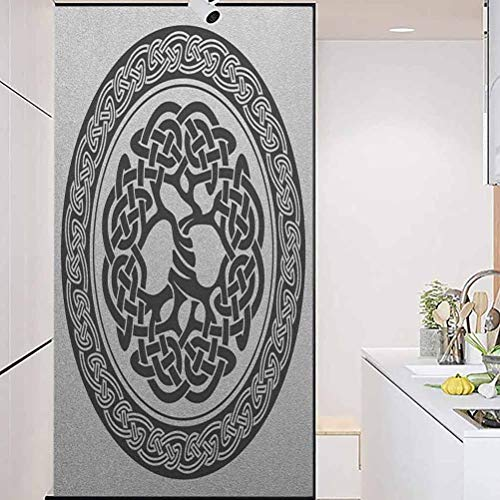 wonderr Stained Glass Window Film, Celtic Native Celtic Tree of Life Figure Ireland Early, Easy to Install and Reuse Glass Film, 17.7' Wx78.7' Linches