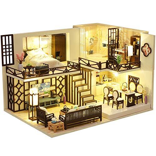 CUTEBEE Miniatura de la casa de muñecas con Muebles, Equipo de casa de muñecas de Madera DIY, más Resistente al Polvo y el Movimiento de música-Christmas