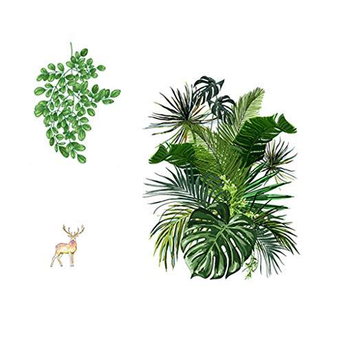 Deajing Pegatinas de Pared Vinilo Decorativo Etiquetas Hogareña Moderno para Sala Dormitorio Hojas de Plantas Tropicales Verde de Dibujos Creativo Pegatinas Sticker