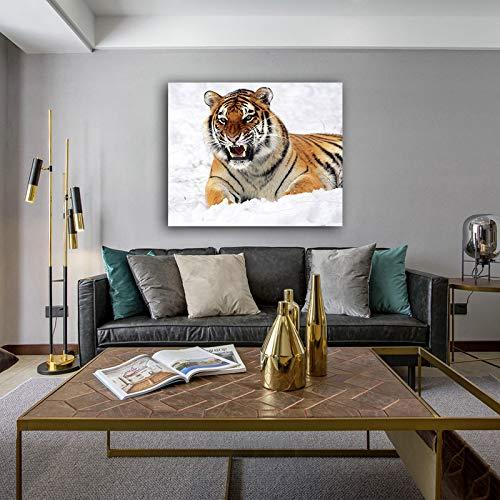 yaonuli DIY Pintar por númerosColorea al Tigre en la Nieve. 40x50cm Sin Marco