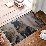 QDYLM Alfombra de baño de Microfibra esponjosa,Disfraz De Perro Sentado Pastor, alfombras de Ducha de Suave Absorbente de Agua, 50x80 cm