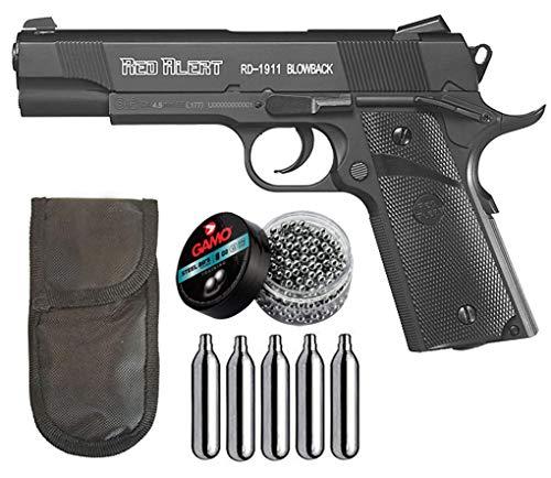 Tiendas LGP - Gamo, Pistola Perdigón Gamo Red Alert RD-1911 Blowback. Calibre 4,5 mm. BBS, Funda Portabombonas, 500 Balines y 5 Bombonas CO2.