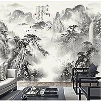 カスタム装飾壁画 カスタム3D自己接着壁紙中国風アートインク絵画滝壁画リビングルーム寝室研究家の装飾