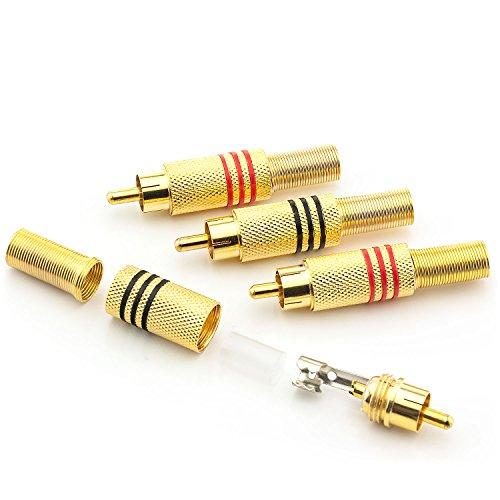 Saxonia 2x Cinch Stecker Audio RCA Verbindungsstück Hochwertige Cinchstecker Verlängerung für Kabel zum Löten (auch schraubbar), vergoldete Kontakte Schwarz
