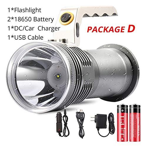 8000LM Lampada Portatile di Alta qualità Searchight Ricaricabile LED Torcia Elettrica Impermeabile Lanterne da Pesca da Caccia Torcia da Caccia Uso 2 * 18650