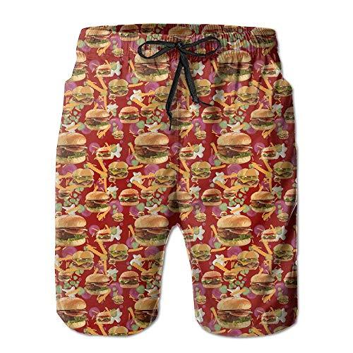artyly Estate per Uomo Hamburger Patatine Fritte Quick-Dry Running Swim Trunks Pantaloncini Corti Beach Costume da Bagno Sport, Taglia M