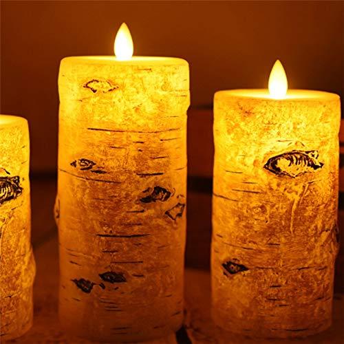 xingguang Vela sin llama en forma de abedul con forma de vela electrónica sin llama, luz de noche parafina LED vela de cera para Navidad Año Nuevo Decoración de boda (Color emisor: Tamaño 75 x 100 mm)