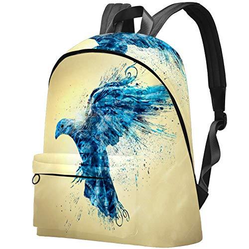 Rucksack mit blauem Unterwassermuster und Hai-Muster, wasserabweisend, Diebstahlschutz, für Damen und Mädchen, Freizeit-Rucksack für Wandern, Reisen Brauner Abstrakter Blauer Vogel 17.3x13.7x5.5 in
