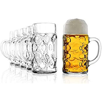 Set of 6 Classic Glass Beer Tankards German Beer Stein Glass 2 Pint