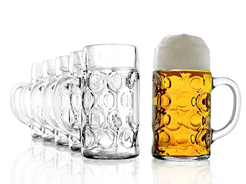 Stölzle Oberglas ISAR Maßkrug 1l - Original Biermaßkrug Oktoberfest, Bierglas, Tradition, Augenkrug, 6 Stück, spülmaschinenfest, hochwertige Qualität