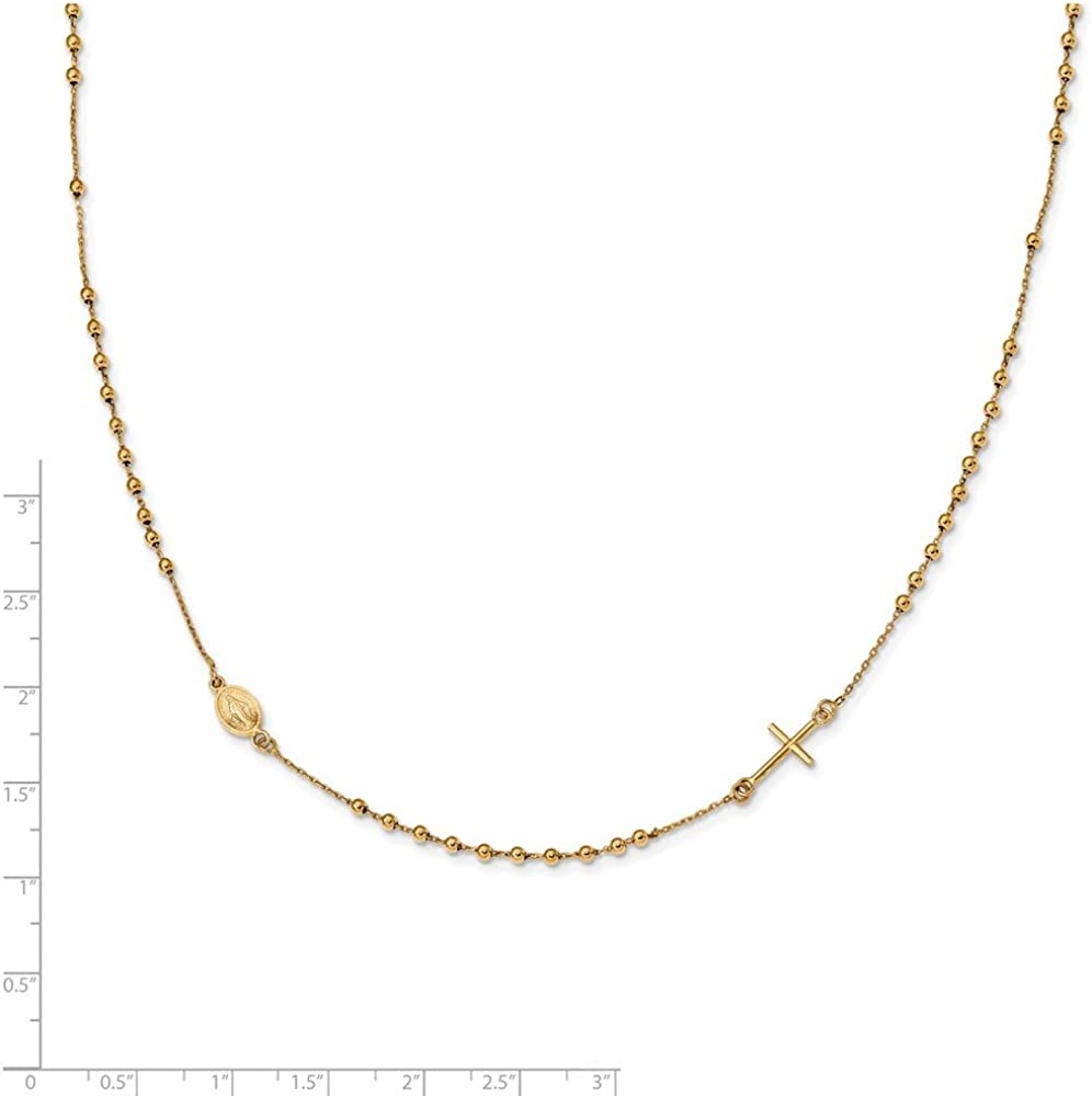 14k Yellow Gold Polished 16 Inch Length Cross Rosary Necklace