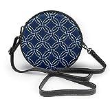 Círculos tejidos geométricos abstractos en azul marino de las mujeres de la mano redonda Crossbody Sra. hombro Menger bolso personalizado