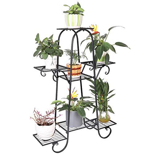 unho Blumenständer Blumentreppe mit 7 Ablagen Blumenregal Pflanzregal Metall, 66 x 22 x 102 cm