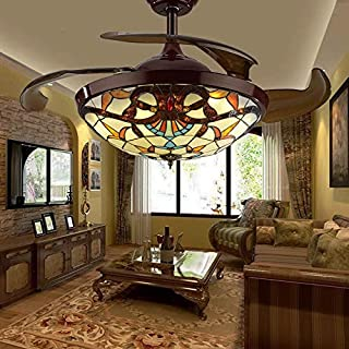 TC-Home Baroque style LED Ceiling Fan Light 4 Retractable blades Warm White Light w/remote controller