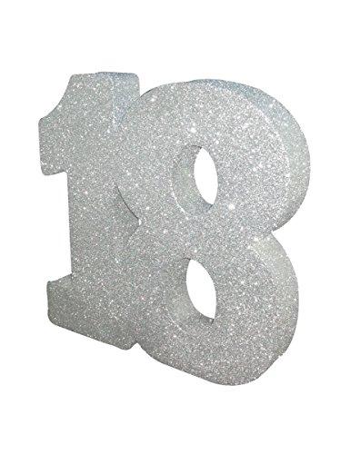 XXL Tischdeko Zahl 18 Geburtstag silber Party Deko