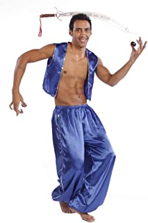 Belly Dance Men's Satin Vest & Pants w/Sequiens Halloween Costume Set