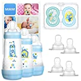 MAM Grow With Me Bottle Set, regalos para bebés, con 3 biberones anticólicos Easy Start (160/260/320 ml), 2 chupetes Original +6, 2 tetinas T3 y 2 TX, 2 meses, NIÑO (Boy)